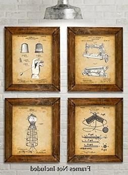 Original Sewing Patent Art Prints - Set of Four Photos  Unfr