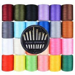 Paxcoo Polyester Sewing Thread 24 Pcs 1000 Yards Each Spools
