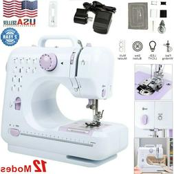 Portable Mini Electric Sewing Machine Double Speed 12 Stitch