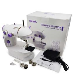 Amado Portable Sewing Double Speed Mini Sewing Machine White