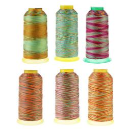 Rainbow Polyester Quilting Sewing Thread Cone For Brother Ma