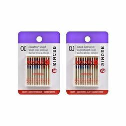 Singer 10-Pack Regular Point Machine Needles Assorted, 4 Siz