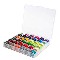 CoolDi 36Pcs Sewing Machine Bobbin Threads with Case for Bro