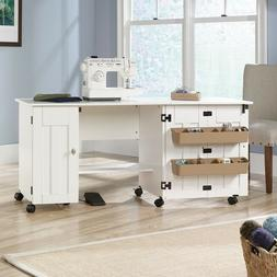 Sewing Machine Cabinet White Drop Leaf Craft Table Cart Stor