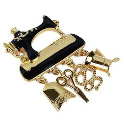 Sewing Machine Enamel Collar Brooch Pin Womens Jewelry Arts
