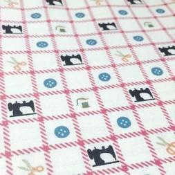 Sewing Machine Gingham Checked Fabric Scissors Buttons Threa