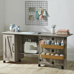 Sewing Machine Table Cabinet Desk Craft Storage Bins Farmhou
