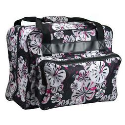 Janome Sewing Machine Tote Bag in Black Floral with Floral P
