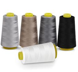 Sewing Thread 100% Polyester Spools 5 Colors 3000 Yard Spool