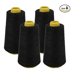 4 PACK of 6000 Yard Spools Black Sewing Thread All Purpose 1