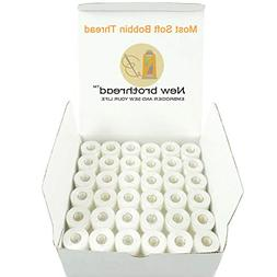 New Brothread 144pcs White 60S/2 Prewound Bobbin Thread Plas