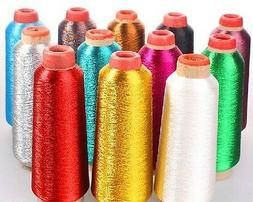 WHITE Metallic Sewing Machine Embroidery Threads,5000 yard t