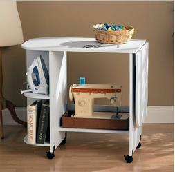 White Rolling Sewing Machine Craft Table Folding Desk Storag